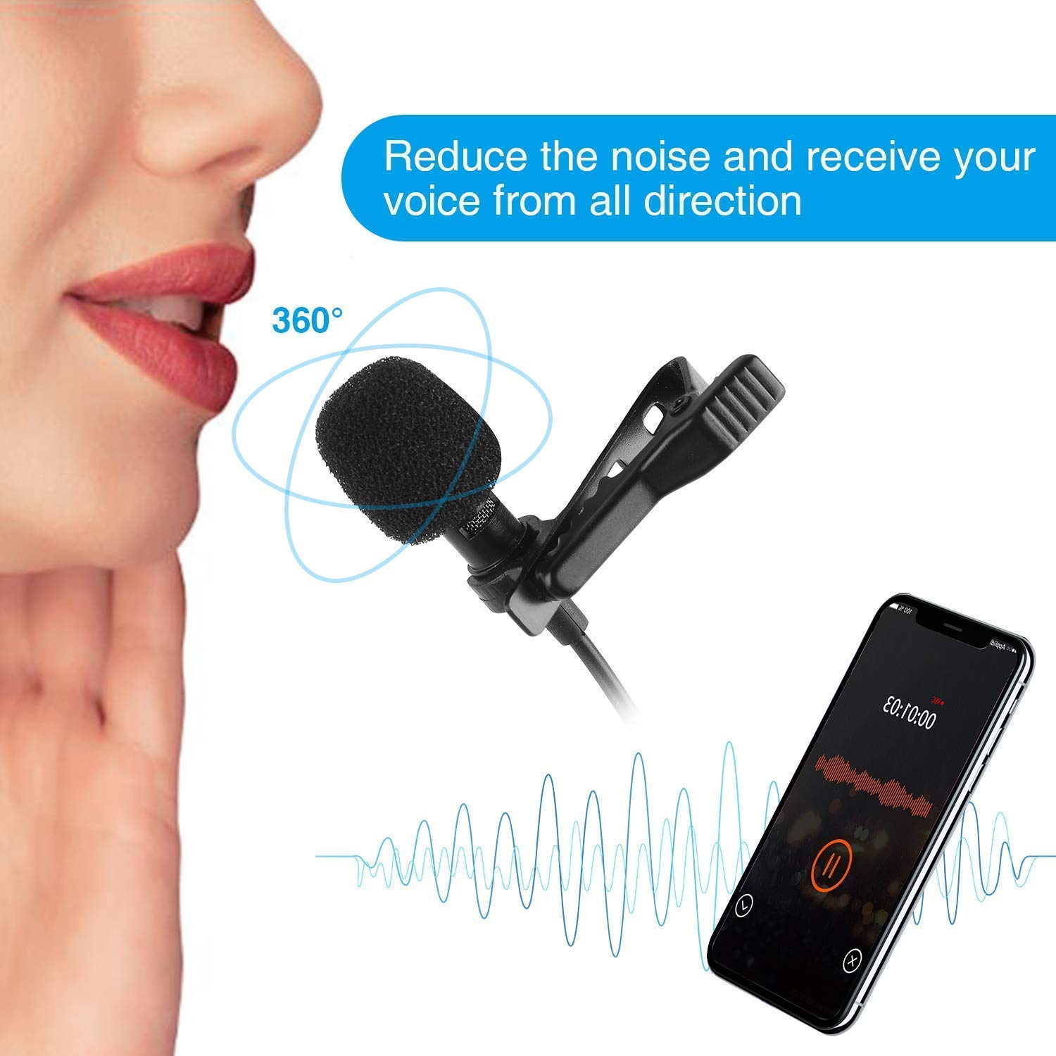 3.5mm Clip Microphone For Youtube, Collar Mike For Voice Recording, Lapel mike special for mobile only