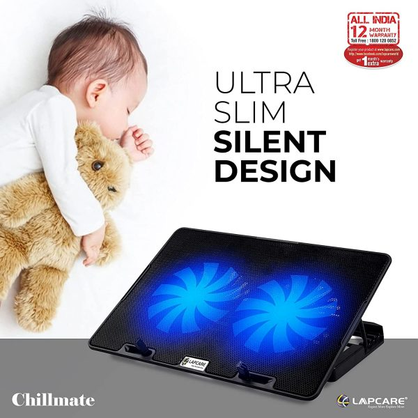 Lapcare ChillMate Adjustable Laptop Cooling Pad with Twin Fans for Efficient Cooling