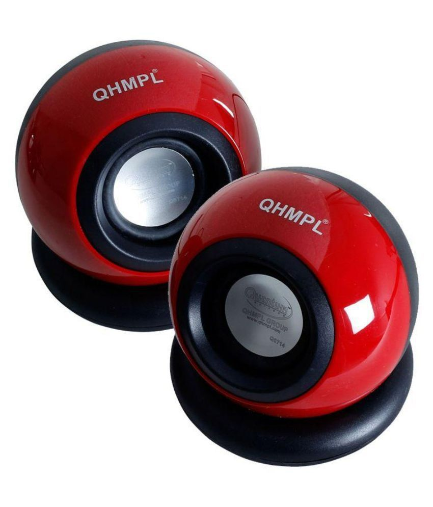 Quantum QHM-620 2.0 Multimedia Speaker - Red for Laptop, PC, Mobiles Speaker with Aux Connectivity,USB Powered and Volume Control