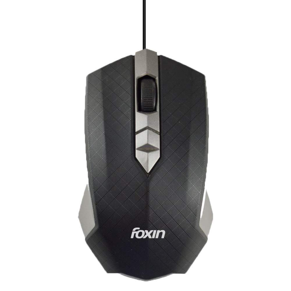 Foxin Smart-Grey Wired Optical Mouse (Grey)