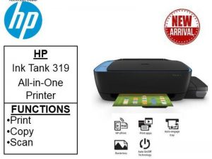 HP Ink Tank 319 Colour Printer, Scanner and Copier for Home/Office, High Capacity Tank (15,000 Black and 8000 Colour), Per Page(10P for B/W and 20P for Colour), Borderless Printing