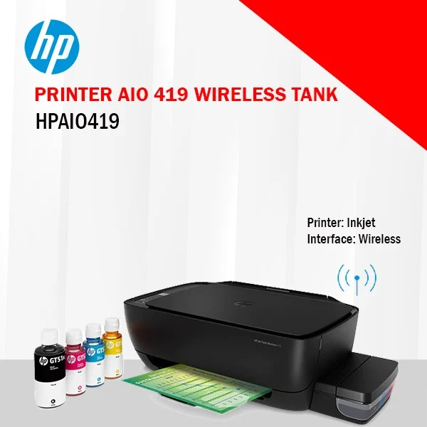 HP Ink Tank 419 WiFi Colour Printer, Scanner and Copier for Home/Office, High Capacity Tank (15,000 Black and 8000 Colour), Low Cost per Page (10p for B/W and 20p for Colour), Borderless Print